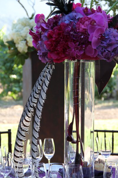 Hollywood glam modern pink purple california centerpiece