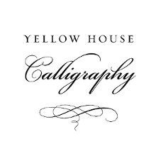 yellow house calligraphy wedding invitations north