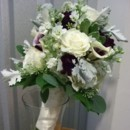 130x130 sq 1489088037536 white and dk purple bouquet