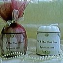 Personalized label candy all wrapped up in tulle and ready to give as your wedding favors.