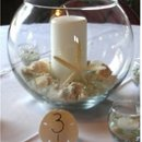 A bubble / fish bowl vase with ivory pillar candle, starfish, and sea shells makes a beautiful, beachy centerpiece.