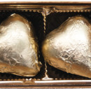 130x130 sq 1388500258343 2 piece chocolate gold foiled heart