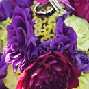 130x130 sq 1296604120596 purplegreenweddingbouquetandrings