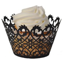 "This fabulous set of 12 Black Filigree-design laser-cut cupcake wrapper are perfect for any special occasion. Easy assembly and a unique look make these cupcake wrappers perfect for your special treats. Create a beautiful cupcake tree, set at each place setting as a party favor, the possibilities are endless. Wrappers are for presentation purposes only - not to bake in and measure 3-1/4"" round x 2-1/8"" high Advantage Bridal prides themselves in fast shipping and a low price guarantee."