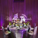 130x130 sq 1382377189719 gal servicereception decorsequin table linen silver chargers floral purple