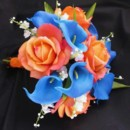 Bridal Bouquet - this natural touch bouquet features orange roses, blue calla lilies and lily of the valley, all flowers are available in your Colors! Many coordinating pieces. Natural touch flowers in which no one will suspect that they are not fresh!