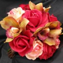 Bridal Bouquet - features apricot and red roses andb burgundy orchids, all flowers available in your colors! Many other coordinating pieces. Natural touch flowers in which no one will suspect that they are not fresh!