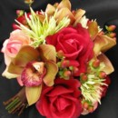 Bridal Bouquet - features apricot and red roses, burgundy orchids, green mums and rust berries, all flowers available in your colors! Many other coordinating pieces. Natural touch flowers in which no one will suspect that they are not fresh!