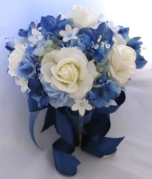Blue Hydrangea Wedding Flowers: Romantic Blue Ivory White Bouquet Fall Flowers Flowers