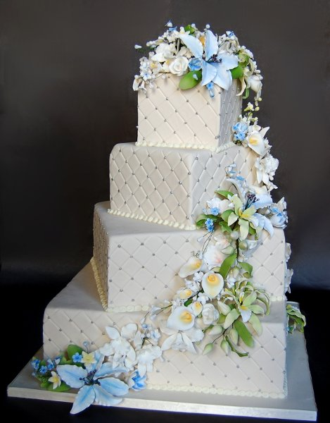 Blue Green Ivory Square Wedding Cakes Photos & Pictures ...