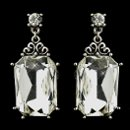 130x130 sq 1358655189288 antiquesilverclearrectanglerhinestonebridaldanglestudearrings22245