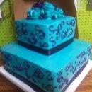 130x130 sq 1348429583274 turquoiseandpurpleweddingcake