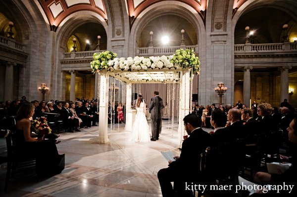 All White Indoor Wedding Ceremony Site: Classic Formal Modern Romantic Ivory White Blossoming
