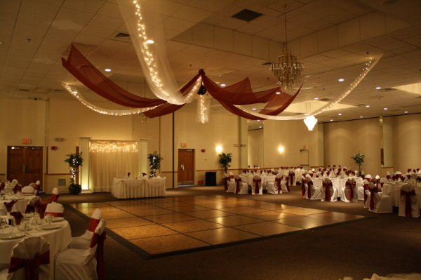 Burgundy White Dance Floor Fall Indoor Reception Wedding Reception