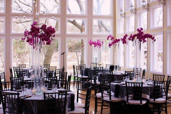 Elegant Black Purple Silver Centerpieces Indoor Reception Winter Wedding Reception  Photos U0026 Pictures   WeddingWire.com