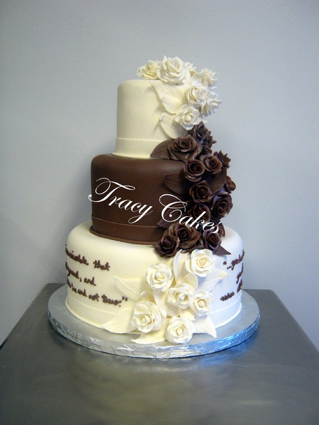 brown and white wedding cake tracycakes rock ar wedding cake 12189