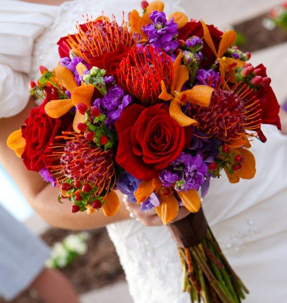 Burgundy Gold Orange Pink Purple Red Bouquet Wedding