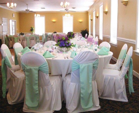 Green Ivory Purple Indoor Reception Wedding Bridesmaids