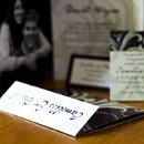 130x130 sq 1301681308802 purpleandsagegreenflorishfoldedphotocardcustomweddinginvitation204