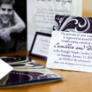 130x130 sq 1301681313958 purpleandsagegreenflorishfoldedphotocardcustomweddinginvitation206