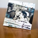 130x130 sq 1301681320068 vintageaquaandbrowngatefoldphotocardcustomweddinginvitation224