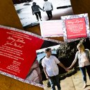 130x130 sq 1301681342177 purpleandsalmonphotostripcustomphotocardweddinginvitations235