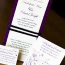 130x130 sq 1301681388927 purpleandcreamfloralweddinginvitations298