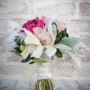 Beautiful protea accented with hot pink peony, dusty miller and silver brunia. We added a pop of white with cymbidium orchids.