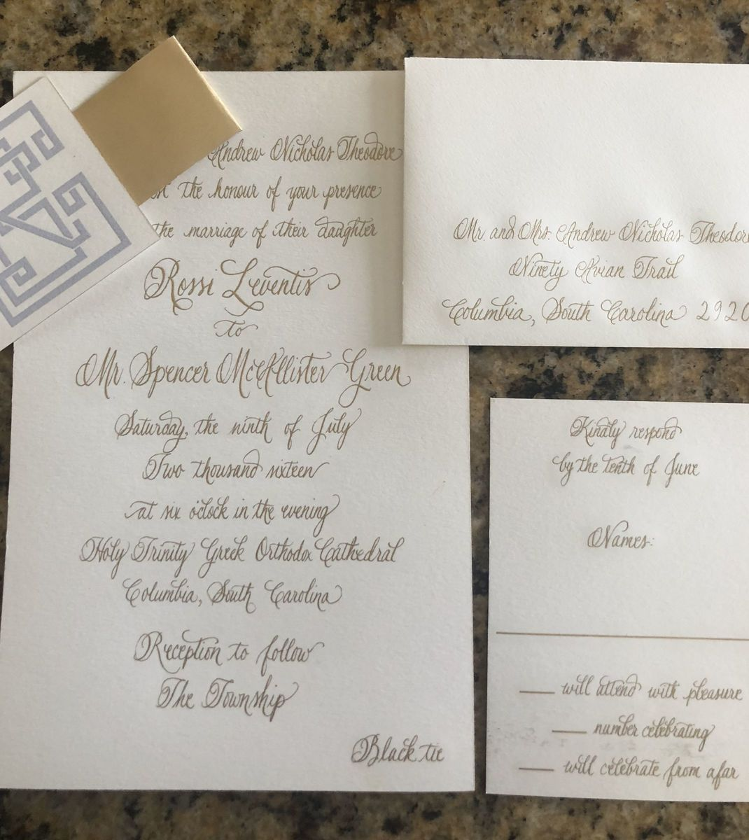 Calligraphy By Paige Tanenbaum Invitations Mount