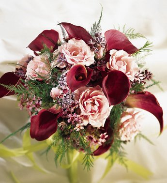 Burgundy Green Pink Purple Bouquet Wedding Flowers Photos