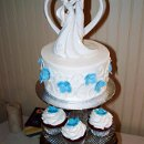 130x130 sq 1343171769741 bluehydrangeaandsilvercupcakewedding7.21.12closeup