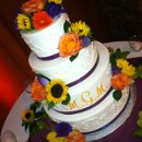 130x130 sq 1351527409889 purpleribbonorangemonogramsuflowerscrollweddingoct20126