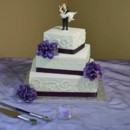 130x130 sq 1368980646559 square offset purple hydrangea wedding cake may 2013