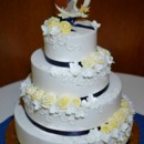 130x130 sq 1368980649496 yellow and navy buttercream rose norman rockwell wedding cake may 2013 2