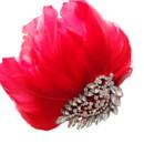 130x130 sq 1473477192542 red feathered rhinestone ornament comb white thumb