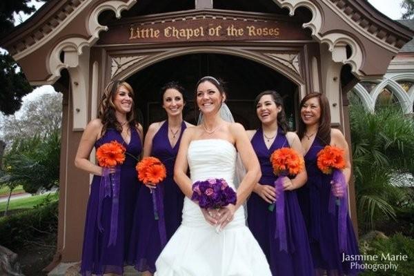 Orange Gown Wedding: Orange Purple White A-line Bouquet Wedding Bridesmaids
