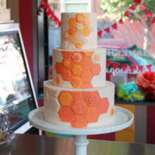 220x220 sq 1404405390630 honeycomb wedding cake 2