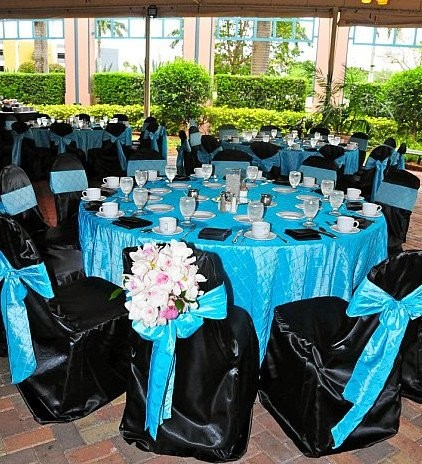 Black Blue Pink Purple Silver White Centerpieces Chairs Outdoor Reception Place Settings Wedding