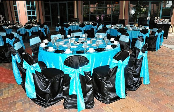 Black blue silver centerpiece centerpieces chairs outdoor