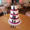 130x130 sq 1490381166222 burgandy ribbon and black design wedding cake