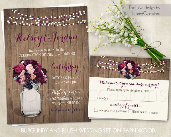 Cottage Mason Jar Wedding Invitation: Boho Chic Romantic Rustic Brown Multicolor Pink Purple