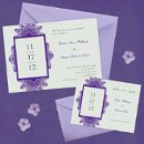 """Love Lace I"" features beautiful vintage lace accents surrounding a bold rectangular frame which highlights your event date. Choose from multiple background and lace color options to match your wedding colors. Dimensions: 7.5"" x 5.25"" (W x H)"