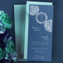 "This stylish, contemporary wedding invitation features three abstract accents. The center accent surrounds your wedding date. The side accents are somewhat transparent so your card color will show through. Your custom text and graphics are thermography printed on your choice of color card. Many different card stock color options are available, including shimmer and metallic card stocks. Dimensions: 4"" x 9.25"" (W x H)"