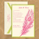 This stylish wedding invitation features two layers of luxurious card stock and a stylish peacock feather design. The design has an intricate detailed inner pattern as well. Your text and graphics are imprinted with raised ink printing. Card colors, paper types and envelopes are all changeable, so mix and match for your wedding colors. Dimensions: 5.125