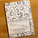 This impressive letterpress wedding invitation features vivacious swirls dancing about. Spectacularly ornate accents and dots add intrigue and whimsy to this mesmerizing design. Your custom text and graphics are letterpress printed on your choice of luxury Crane Recycled Cotton stock. Ink colors are changeable once you enter iDesign – 30 amazing colors to choose from. Dimensions: 5
