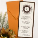 This stylish wedding invitation features 2 layers - a bottom colored card stock (available in matte, metallic and shimmer papers) and a top card stock layer which is printed with raised lettering. The top of the card features a contemporary sunburst encircling the couple's initials. Unique rays add depth and dimension to this design. Card colors, paper types and envelopes are all changeable, so mix and match with your wedding colors. Dimensions: 4
