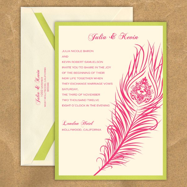 "This stylish wedding invitation features two layers of luxurious card stock and a stylish peacock feather design.  The design has an intricate detailed inner pattern as well. Your text and graphics are imprinted with raised ink printing. Card colors, paper types and envelopes are all changeable, so mix and match for your wedding colors.  Dimensions: 5.125"" x 7.25"" (W x H)"