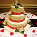 Bright red ribbon with rose petals