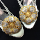 130x130 sq 1426284918398 shoe clips jeweled leather flower gold on strappy