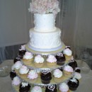 130x130 sq 1384970652454 cupcake and two tier wedding cak